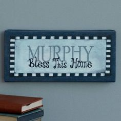 Personalized Bless This Home Canvas Wall Decor, Available in Multiple Colors, Blue