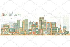 Abstract San Salvador Skyline - Illustrations - 1