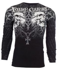 Xtreme Couture AFFLICTION Mens THERMAL T-Shirt SHRAPNEL Biker UFC M-3XL $58 #Affliction #GraphicTee