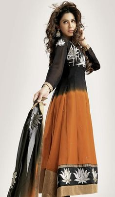 G3 fashions Black Ochre Georgette Party Wear Designer Salwar Suit  Product Code : G3-LSA104694 Price : INR RS 4190