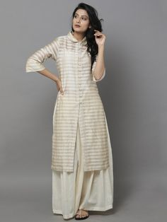 Beige Striped Chanderi Shirt - the loom Pakistani Outfits, Indian Outfits, India Fashion, Boho Fashion, Fashion Art, Chic Outfits, Fashion Outfits, Indian Designer Suits, Kurta Designs