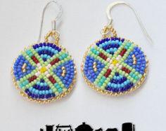 Native American Beaded Mirror Earrings by crystaltewa on Etsy