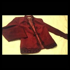 Dressbarn Maroon faux suede jacket Faux Suede maroon with black detail on neck down opening trim and wrist, has inside layer with polyester,  measurements are; 19 neckline to bottom of jacket,  16 is inseam of underarm to wrist,  thus jacket lays nice and flat when wearing not buttons or zipper.  HELLO LADIES YES ALL MY CLOSET ON SALE ACCEPTING ALL OFFERS   Barnyard Jackets & Coats Pea Coats