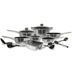 17 Piece Stainless Steel Belly Shape Cookware set * For more information, visit image link.