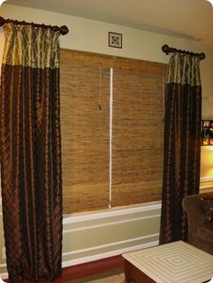 Bamboo roman shades in the living room! Short Curtain Rods, Short Curtains, Drapes Curtains, Curtains Living, Valances, Drapery, Bamboo Roman Shades, Thrifty Decor Chick, Bamboo Blinds