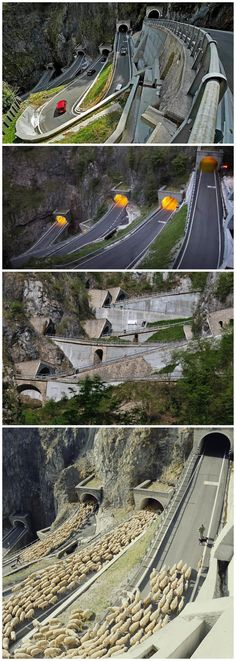 """San Boldo Pass in Italy at a elevation of 2316 ft. It is a small mountain pass between the towns of Trichiana and Tovena. There are 6 tunnels blasted into the rock with hairpin turns and loops and 6 bridges. It is nicknamed """"Street of 100 days"""" because of its short construction period."""