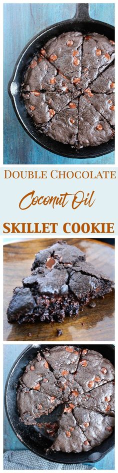 Double Chocolate Coconut oil Skillet Cookie with coconut sugar is one part cookie, one part insanely rich and decadent brownie!