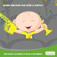 Way to go Chennai Super Kings! Just like you showed how One run can win a match, One sachet of Econorm will begin to help every child beat Diarrhea!