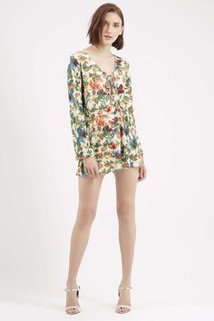 Photo 2 of Fruity Floral Print Lattice Playsuit