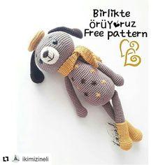 ( ・ ・ ・ Te deseo una buena noche receta p . Easy Crochet Stitches, Crochet Dolls Free Patterns, Crochet Animals, Crochet Toys, Easy Amigurumi Pattern, How To Make Toys, Cuddling, Cute Animals, Teddy Bear