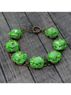 Chunky Peridot Crystal and Burnished Goldtone Bracelet #designerinspired #crystalbracelet