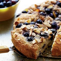 "Guilt-free Blueberry Coffee Cake. ""Skim milk and nonfat yogurt make this cake moist and easy on the waistline—only 219 calories a slice. Antioxidant-rich blueberries are a bonus."""