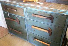 Repurposed Blue Vintage Dresser w Hammer Drawer Pulls on Etsy, $345.00
