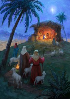 Leading Illustration & Publishing Agency based in London, New York & Marbella. Christmas Nativity Scene, Christmas Scenes, Christmas Time, Vintage Christmas, Nativity Scenes, Xmas, Wallpaper Natal, Favorite Cartoon Character, Jesus Pictures