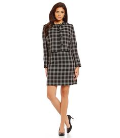 Windowpane Crop Jacket with Pencil Skirt / office chic/ work wear style/ desk to dinner fashion/ business/