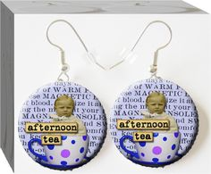 Afternoon Tea #Altered Art #Button Charm Earrings 7.99  Enter our contest to win a grand prize worth over $140 and weekly prize  drawings every Friday through Christmas 2013 www.ButtonCharmJewelry.com