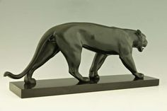 Art Deco Sculpture of Walking Panther by Max Le Verrier   From a unique collection of antique and modern sculptures at https://www.1stdibs.com/furniture/decorative-objects/sculptures/