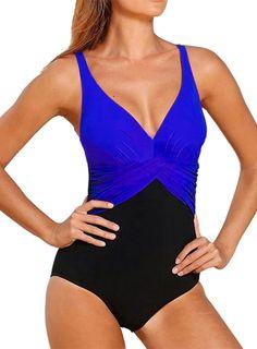 fb89ca1211 Women s Plus Size Color Block V Neck One Piece Swimsuit Tankini Swimsuits  For Women