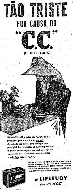 """Propaganda do sabonete Lifebuoy em 1946 que usa o termo """"C.C' ou """"cecê"""" que significa """"cheiro de corpo""""."""