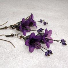 Purple Lily Earrings - Acrylic Flowers - Swarovski Crystals - Vintage look