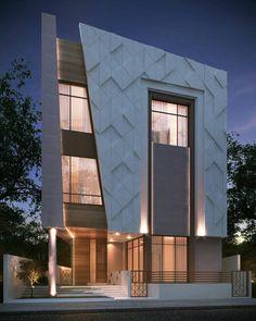 Prédio com térreo mais dois andares, com fachada em revestimento 3D, e madeira.