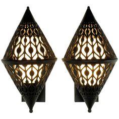 Pair of Black Enamel Pierced Diamond Sconces with Internal Milk Glass Shades 1