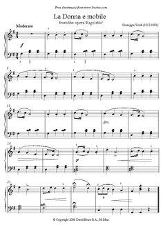 Verdi - 'La Donna e mobile' from Rigoletto sheet music for Piano Easy Sheet Music, Easy Piano Sheet Music, Violin Sheet Music, Vintage Sheet Music, Music Tabs, Music Notes, Piano Lessons, Music Lessons, Violin Songs