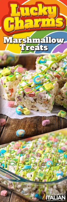 Lucky Charms Marshmallow Treats are a fantastic St. Patrick's Day (or any day) confection! This simple recipe is only 4 ingredients and its bursting with charms. This easy dessert is loaded with ooey gooey marshmallows to give it the perfect chewy bite. Brownie Desserts, Oreo Dessert, Mini Desserts, Easy Desserts, Dessert Bars, Delicious Desserts, Dessert Recipes, Yummy Food, Kid Recipes