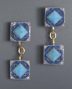 A PAIR OF ART DECO TURQUOISE, ENAMEL AND DIAMOND CUFF LINKS, BY LACLOCHE FRERES. Each double-link designed as a square blue enamel plaque, centring upon a sugar loaf cabochon turquoise, enhanced by calibré-cut onyx and single-cut diamond accents, joined by gold links, mounted in 18k gold, circa 1925, with French assay marks, in a Lacloche Frères red leather fitted case. Signed Lacloche Frères, Paris.