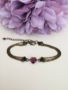 February birthstone Amethyst heart bracelet Crystal heart
