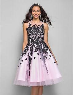 29e40a117d6e1 A-line Princess Jewel Knee-length Tulle Coktail Dress (635925). Robe Rose ·  Dentelle ...