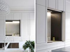 Toda em branco a cozinha tem mármore calcuta nas bancadas, piso em madeira no…