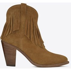 Saint Laurent New Western 80 Fringed Ankle Boot In Tan Suede ($1,195) ❤ liked on Polyvore featuring shoes, boots, ankle booties, tan, fringe cowgirl boots, suede booties, high heel booties, fringe ankle boots and cowgirl boots
