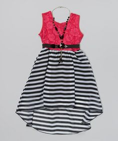 Another great find on #zulily! Fuchsia Lace & Stripe Belted Dress Set - Toddler & Girls #zulilyfinds