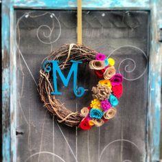 Colorful spring summer monogram felt and burlap flower by CLMahler, $55.00