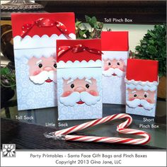 Printable Santa Treat Boxes and Bags with 3D cut out mustaches for a fun layered look!  Add your own ribbon or staple the toppers to the bags to close. Boxes are small and a great size for filling with gift cards, jewelry, and other small gifts. decorative effect. Gina Jane Designs - DAISIE Comp...