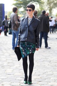 An artsy print countered a leather jacket, and green metallic heels | This Is It — 500 Paris Fashion Week Street Snaps You Have to See | POPSUGAR Fashion