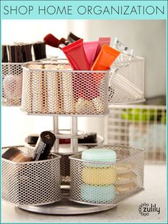 Discover hundreds of home decor items at prices 70% off retail! At zulily you'll find something special for every room in your home! Bathroom Organization, Organisation, Makeup Organization, Bathroom Storage, Dorm Decorations, Organizing Tips, Organizing Your Home, Decluttering, Desk Supplies