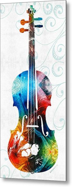 Colorful Violin Art by Sharon Cummings Metal Print by Sharon Cummings. All metal prints are professionally printed, packaged, and shipped within 3 - 4 business days and delivered ready-to-hang on your wall. Music Artwork, Art Music, Violin Music, Robert Walser, Cello Art, Buy Art Online, Online Check, Art Auction, Medium Art