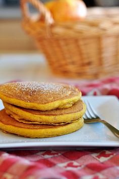 Best way to use up leftover pumpkin puree -- Pumpkin Spice Pancakes! They only take 1/2 cup...will so do this after I make my pumpkin bread.