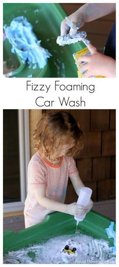 Three Step Fizzy Foaming Car Wash - a fun outdoor (or indoor) activity!  Includes a fun trick for masking that vinegar smelll.  From Fun at Home with Kids