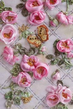 Wonderful Ribbon Embroidery Flowers by Hand Ideas. Enchanting Ribbon Embroidery Flowers by Hand Ideas. Embroidery Designs, Ribbon Embroidery Tutorial, Silk Ribbon Embroidery, Embroidery Kits, Embroidery Stitches, Embroidery Supplies, Embroidery Boutique, Embroidery Materials, Japanese Embroidery