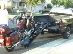 , Rampage Power Lift Powered Motorcycle Ramp - Long , The Rampage power lift motorcycle ramp is a great alternative to the normal motorcycle loading ramp method! Motorcycle Loading Ramp, Motorcycle Campers, Lifted Trucks, Pickup Trucks, Bike Lift, Loading Ramps, Truck Bed, Super Bikes, Step By Step Instructions