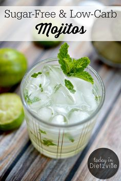 Sugar-Free & Low-Carb Mojito Recipe | Traditional mojitos are full of sugar, (and rum is really sweet too) so I came up with a Sugar-Free and Low-Carb Mojito recipe! Using my Sugar-Free Simple Syrup, you, too, can mix yourself a refreshing mojito and relax on your front porch! #allthenourishingthings #mojito #lowcarb #sugarfree #keto #ketomojito
