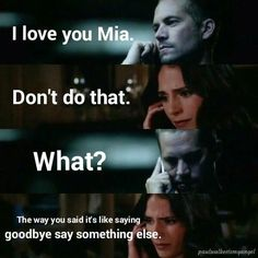 Paul Walker and Jordana Brewster Fast And Furious Memes, Fast And Furious Cast, The Furious, Paul Walker Quotes, Rip Paul Walker, Jessy James, Dom And Letty, Dominic Toretto, I Dont Have Friends