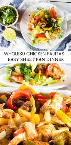 Delicious and healthy chicken fajitas sheet pan recipe. Simple family week night dinner ideas that are whole 30 approved paleo approved gluten free and dairy free. Paleo Recipes, Healthy Dinner Recipes, Real Food Recipes, Paleo Meals, Keto Meal, Summer Recipes, Free Recipes, Yummy Food, Chicken Fajita Recipe
