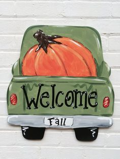 Vintage Truck Pumpkin Fall Autumn Wood Door Hanger Personalized by Earthlizard … - Wood Projects Autumn Painting, Autumn Art, Fall Paintings, Canvas Paintings, Pumpkin Canvas Painting, Moon Painting, Fall Crafts, Diy Crafts, Decor Crafts