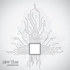 Circuit board pattern in the shape of the Christmas tree Royalty Free Stock Vector Art Illustration