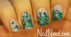 Blue Flowers Nails
