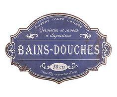 Plaque Decorative BAINS DOUCHES Bleu Et Blanc